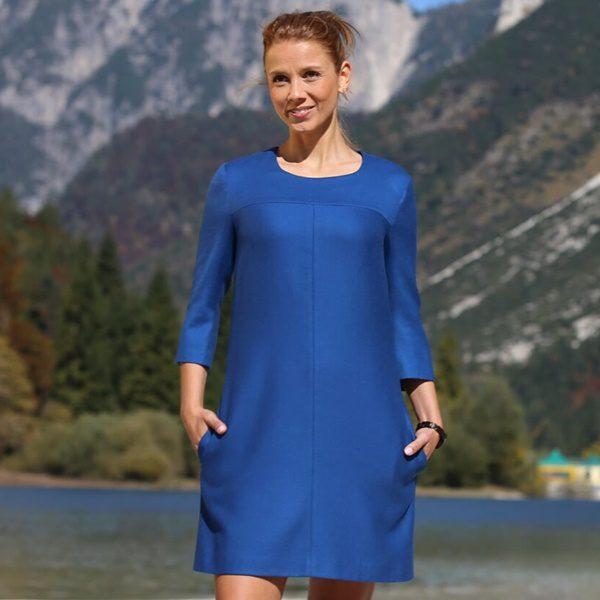 Schurwollkleid Königsblau