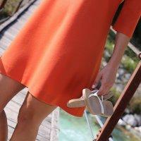 Schurwollkleid Orange